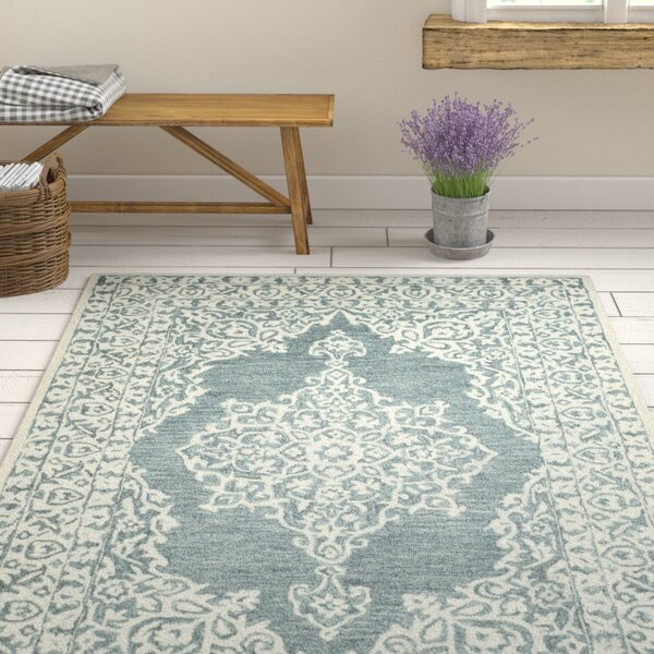 Burhardt Hand Tufted Wool Blue Area Rug by One Allium Way