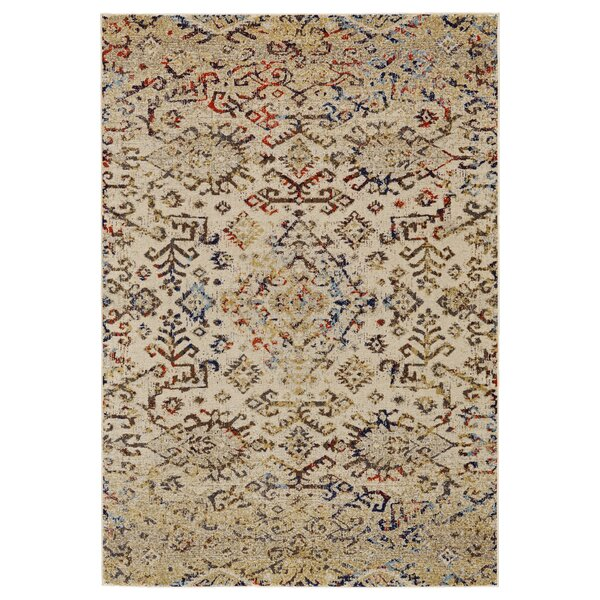 Gries Beige/Red/Green Area Rug by Bungalow Rose