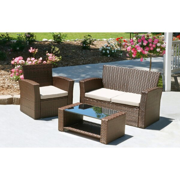 Hope 3 Piece Rattan Sofa Set with Cushions by Ivy Bronx