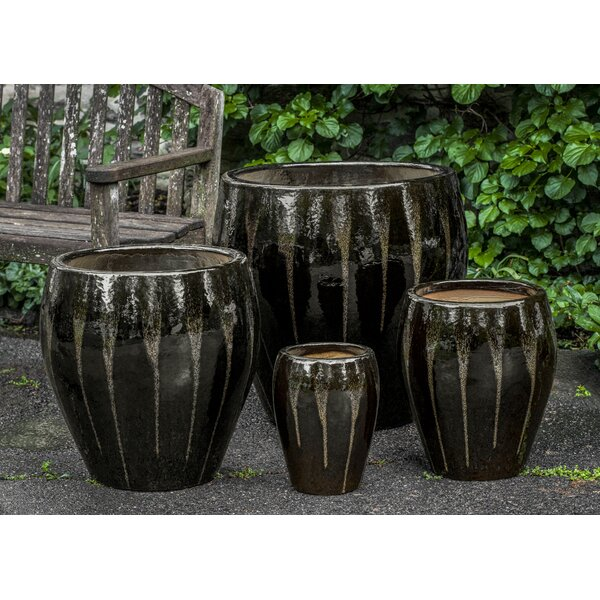 Perrigo 4 Piece Ceramic Pot Planter Set by Orren Ellis