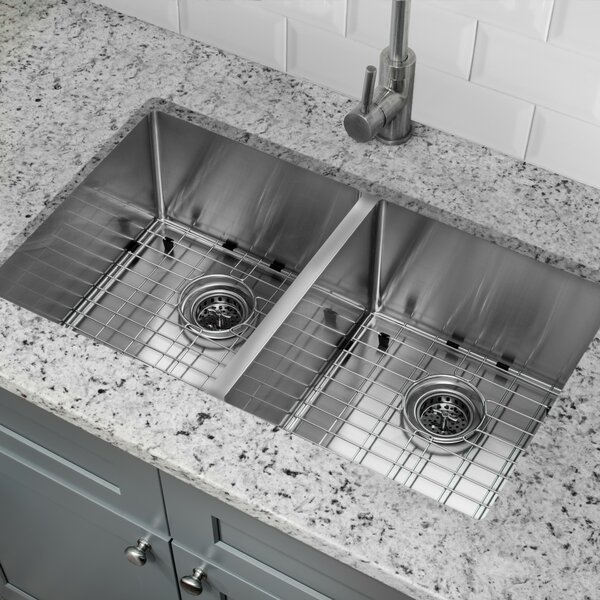 32 L x 19 W Double Basin Undermount Kitchen Sink with Grid Set and Drain Assemblies by Cahaba