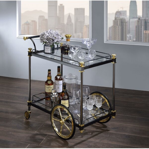 Denis Metal Framed Bar Cart by Everly Quinn