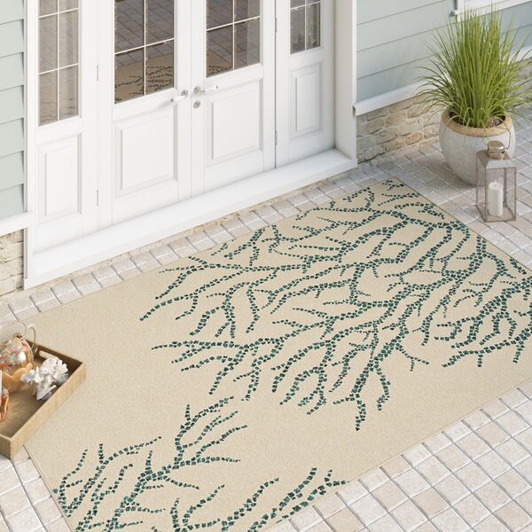 Portwood All Over Coral Ivory/Blue Indoor/Outdoor Area Rug by Beachcrest Home