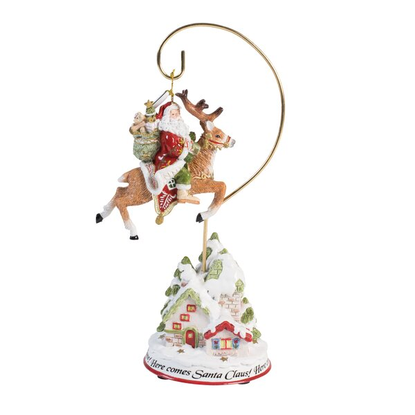 Damask Holiday 2016 Dated Ornament with Figural Stand by Fitz and Floyd