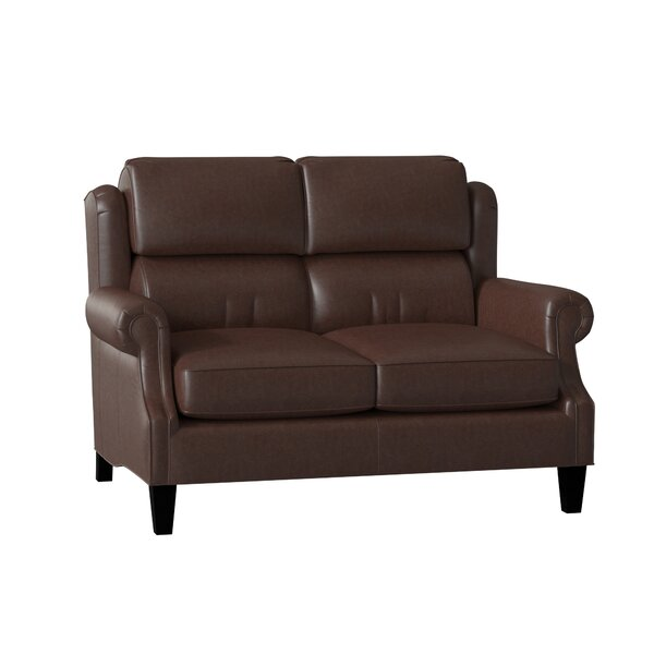 Taylor Genuine Leather 58.5 Rolled Arm Loveseat