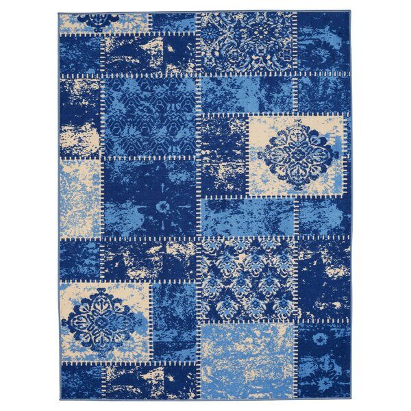 Anne Patchwork Blue/Ivory Area Rug by Diagona Designs