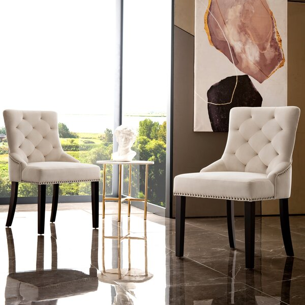 Repp Tufted Velvet Upholstered Solid Wood Side Chair (Set Of 2) By House Of Hampton