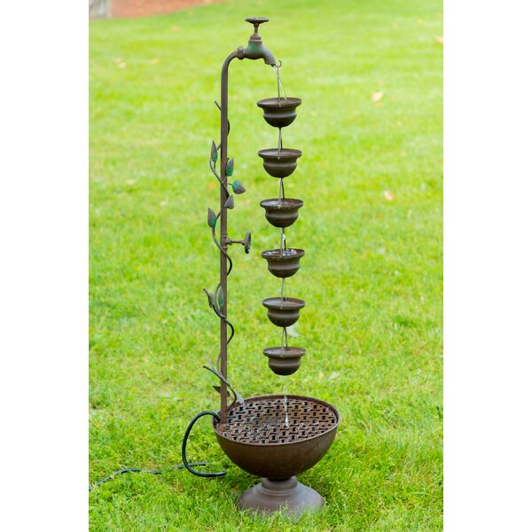 Metal 6 Hanging Cup Tier Layered Floor Fountain by Alpine