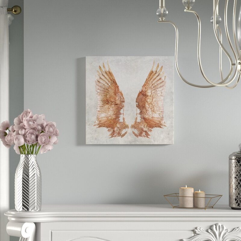 'Rose Gold Wings' Graphic Art Print on Canvas