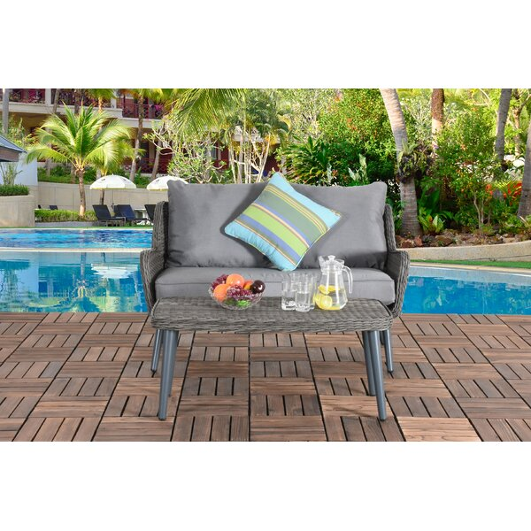 Hueytown Patio 2 Piece Rattan Sofa Seating Group with Cushion by Bungalow Rose