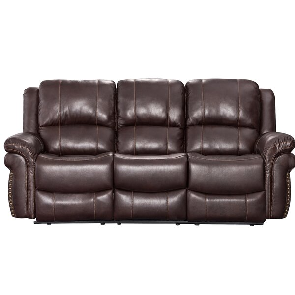 Monteith Leather Reclining Sofa by Winston Porter