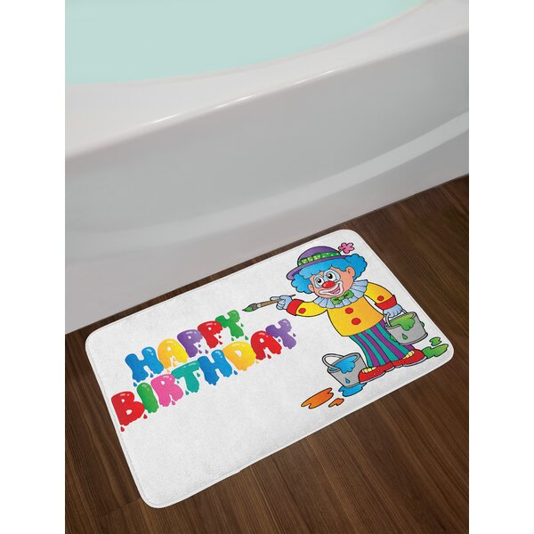 Happy Clown Kids Birthday Bath Rug by East Urban Home