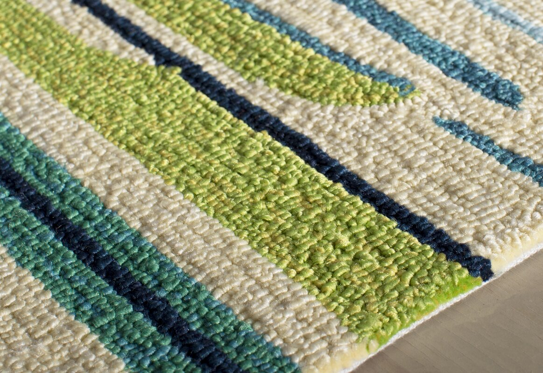 Laude Run Angelina Hand Hooked Polypropylene Blue Green Outdoor Mad Mats Mixed Area Rug