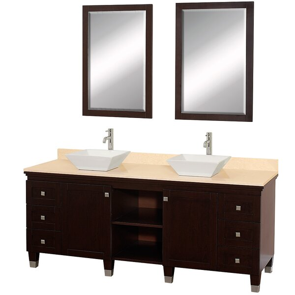 Premiere 72 Double Espresso Bathroom Vanity Set with Mirror by Wyndham Collection