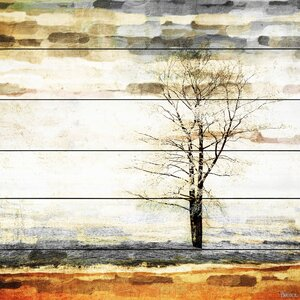 'Lone Tree' by Parvez Taj Painting Print on White Wood by Mercury Row