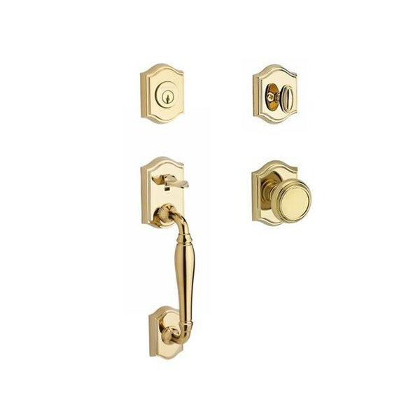 Westcliff Single Cylinder Handleset with Traditional Knob and Traditional Arch Rose by Baldwin