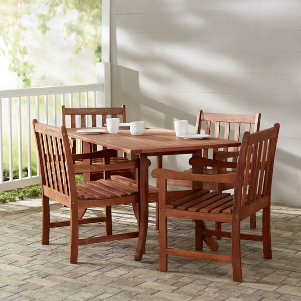 Monterry 5 Piece Rectangular Wood Dining Set by Beachcrest Home