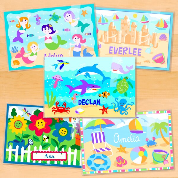 Summertime 5 Piece Girls Personalized Placemat Set by Olive Kids