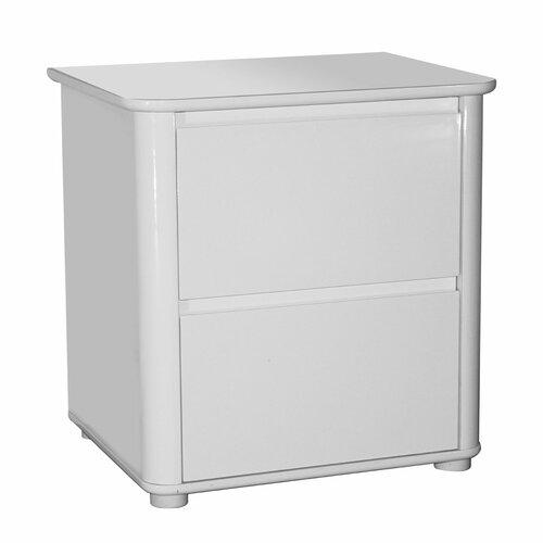 Nachttisch mit 2 Schubladen ClearAmbient Beschichtung: Weiß Hochglanz | Schlafzimmer > Nachttische | Weiß - Hochglanz | Holz | ClearAmbient