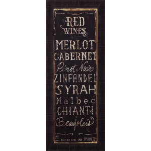 'Red Wines' by Luis Sanchez Framed Textual Art by Art Effects