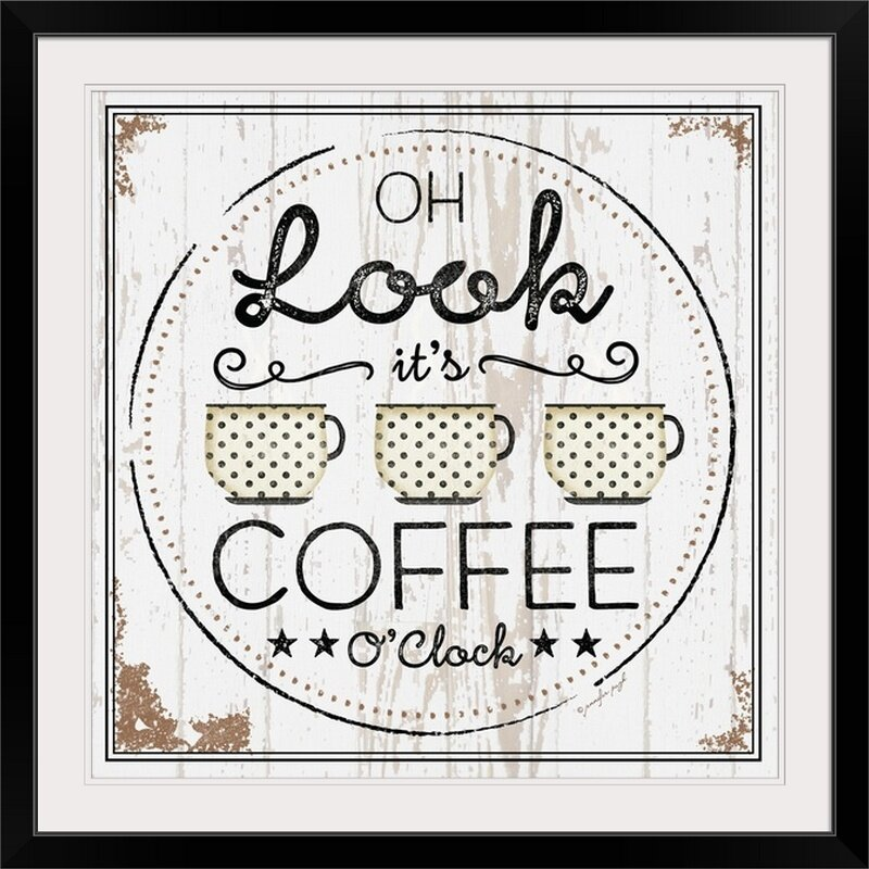 Coffee Wall Decorations - 'Coffee Oclock' by Jennifer Pugh Textual Art