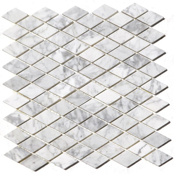 Rhomboid 1 x 1 Marble Mosaic Tile in White by Luxsurface