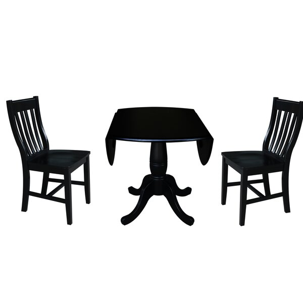 Ollie 3 Piece Drop Leaf Solid Wood Dining Set by Canora Grey