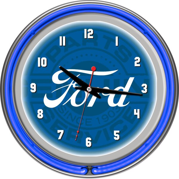 Ford Genuine Parts 11 Double Rung Neon Wall Clock by Trademark Global