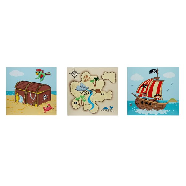 Pirate 3 Piece Graphic Art Print Plaque Set by Fantasy Fields
