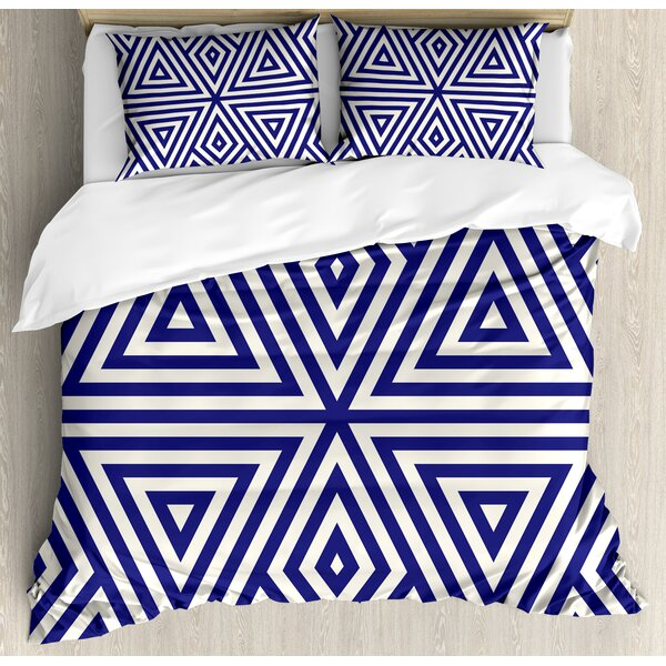 Modern Symmetric Triangles Geometric Continuous Abstract Lines Artful Illustration Duvet Set by Ambesonne