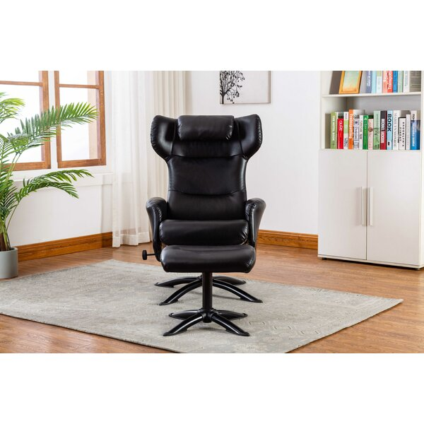 Bourkelands Leather Manual Recliner With Ottoman By Latitude Run
