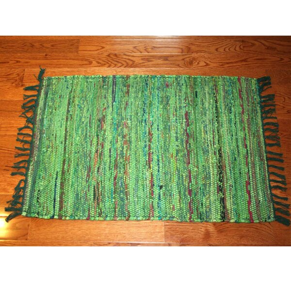 One-Of-A-Kind Linmore Over-Dyed Hand-Woven Green Area Rug By Bay Isle Home.