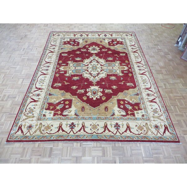 One-of-a-Kind Railsback Serapi Hand-Knotted Wool Red Area Rug by Astoria Grand