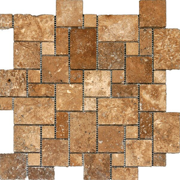 Random Sized Travertine Mosaic Tile in Unpolished Golden Sienna by Epoch Architectural Surfaces
