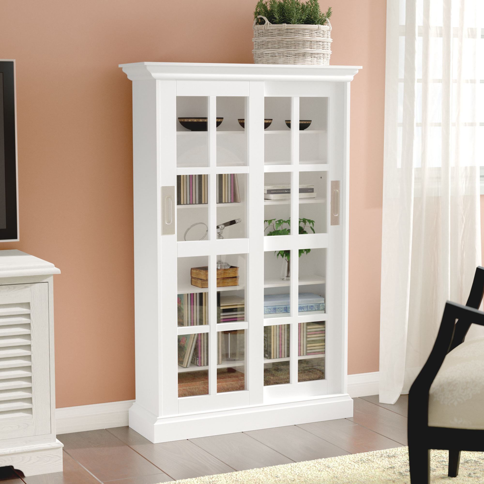 sliding with bookcases retro storage century pin mid sideboard vintage bookcase glass doors