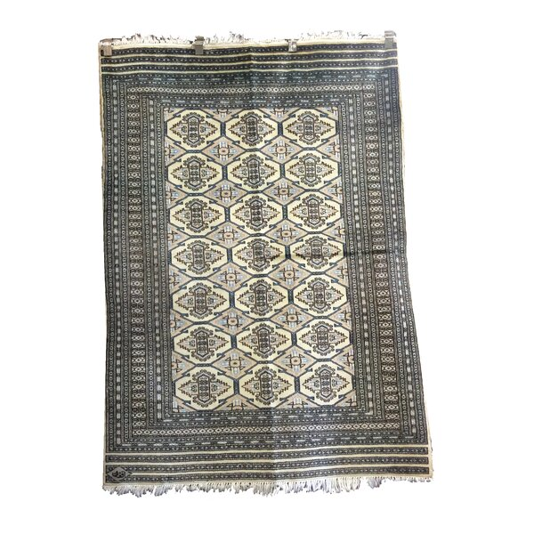 One-of-a-Kind Percival Hand-Knotted Wool Gray/Ivory Area Rug by Loon Peak