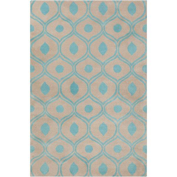 Willa Hand Tufted Wool Beige/Blue Area Rug by Corrigan Studio