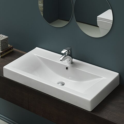 Mona Ceramic Rectangular Drop-In Bathroom Sink with Overflow by CeraStyle by Nameeks