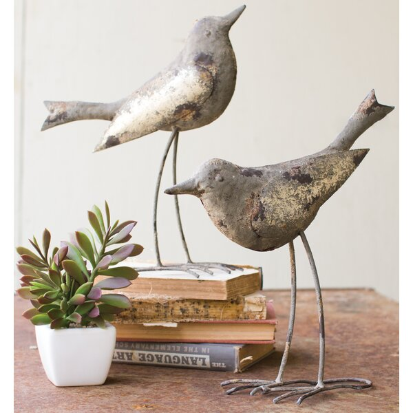Metal Bird Figurine (Set of 2) by Rosecliff Heights