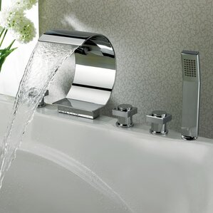 triple handle deck mount waterfall tub faucet with handshower