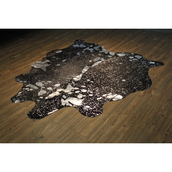 Parise Premium Hand-Woven Cowhide Silver/Black Area Rug by Union Rustic