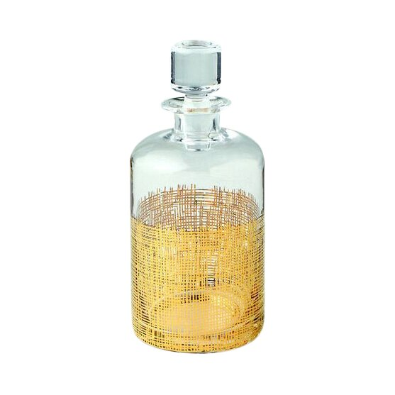 Gold Crosshatch Cylinder Decanter by DwellStudio