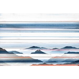 'Hidden Blue Mountains' by Parvez Taj Painting Print on White Wood by Parvez Taj