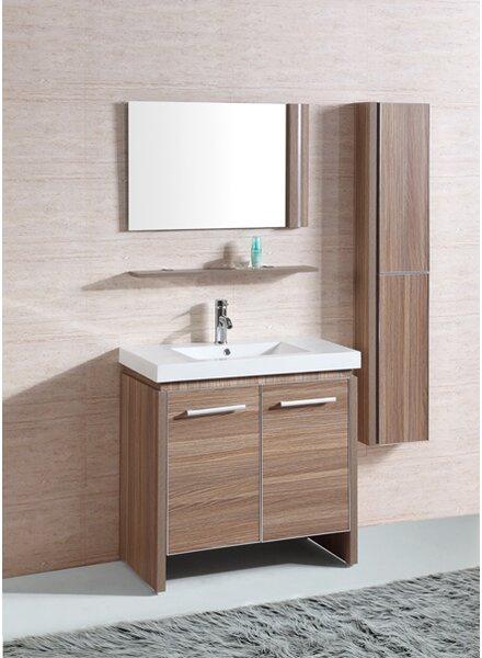 Mcgowan 31 Sink Vanity Set with Mirror and Side Cabinet by Orren Ellis