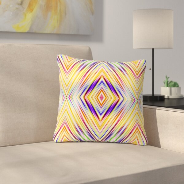 Dawid Roc Colorful Tribal Ethnic Ikat Pattern Outdoor Throw Pillow by East Urban Home
