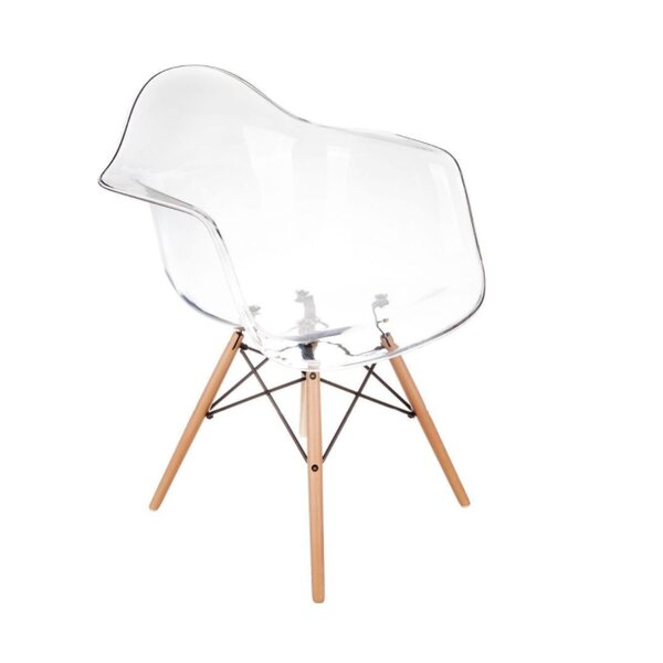 Quast Acrylic Dining Chair with Wood Base by Orren Ellis