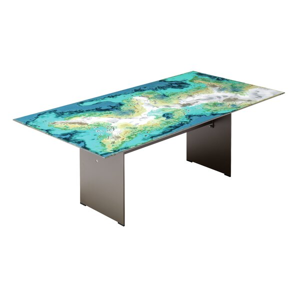 Etna Rectangle Diagonal Cut Metal Dining Table by Seasonal Living