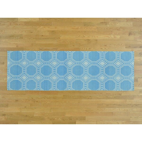 One-of-a-Kind Borden Reversible Handmade Kilim Blue Wool Area Rug by Isabelline