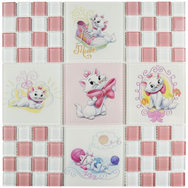Disney Aristocats Glass Mosaic Tile in Pink by EliteTile