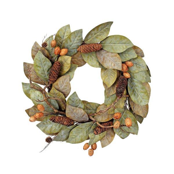 Dried 24 Magnolia Leaf Wreath by Gracie Oaks
